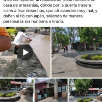 """😱   #Captan a doña """"Hono"""" lanzando residuos al río #Zahuapan"""